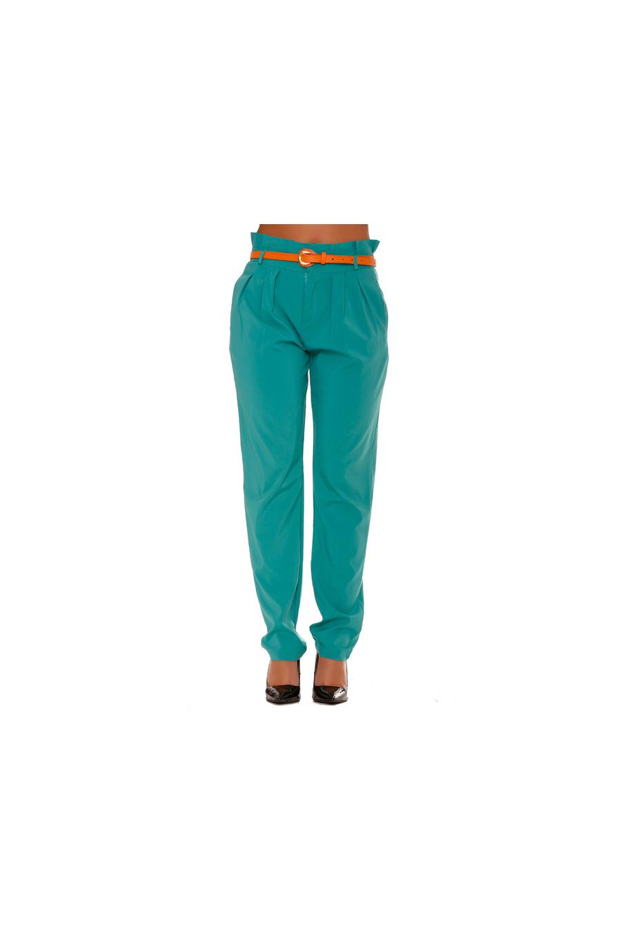 Pantalon Vert Fluide coupe Carotte. Taille Haute. Pantalon Femme. BS20208