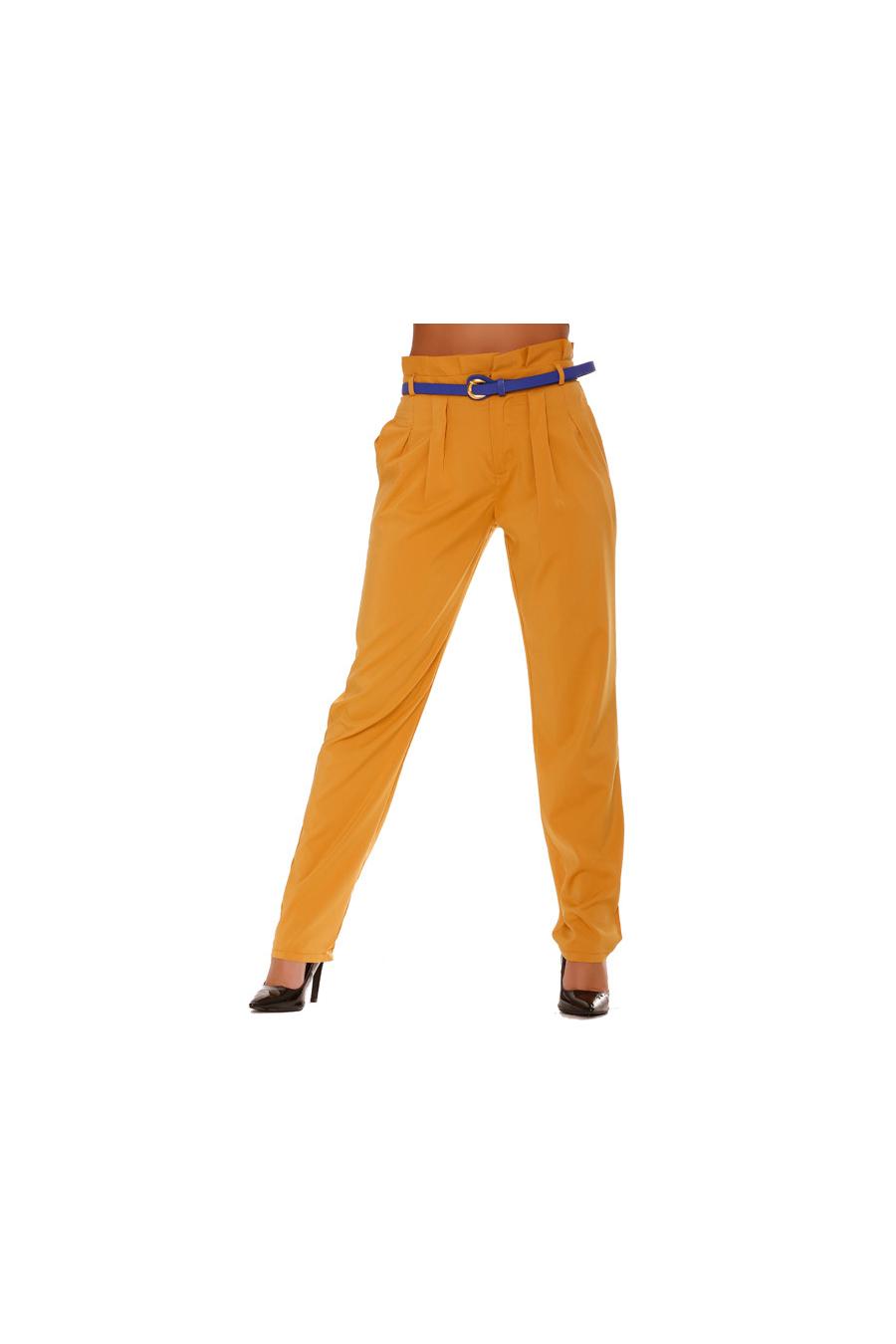 Pantalon Moutarde Fluide coupe Carotte. Taille