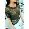 Sublime top kaki dentelé manche 3/4 avec strass et perle, agréable à porter. Style fashion. F2050