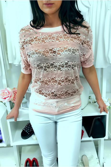 Sublieme roze kanten top 3/4 mouw met strass steentjes en parel, comfortabel om te dragen. Mode stijl. F2050