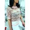 Sublime top Rose dentelé manche 3/4 avec strass et perle, agréable à porter. Style fashion. F2050