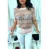 Sublime pink lace top 3/4 sleeve with rhinestones and pearl, comfortable to wear. Fashion style. F2050