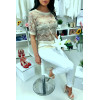 Sublime beige lace top 3/4 sleeve with rhinestones and pearl, comfortable to wear. Fashion style. F2050