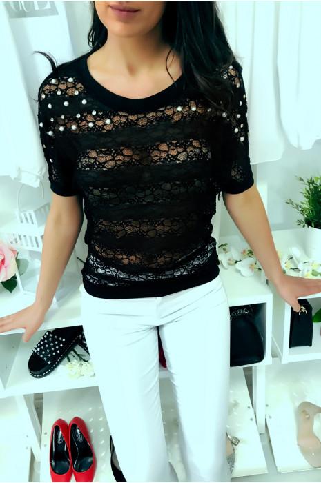 Sublieme zwarte gekartelde top 3/4 mouw met strass steentjes en parel, comfortabel om te dragen. Mode stijl. F2050