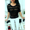 Sublime black serrated top 3/4 sleeve with rhinestones and pearl, comfortable to wear. Fashion style. F2050