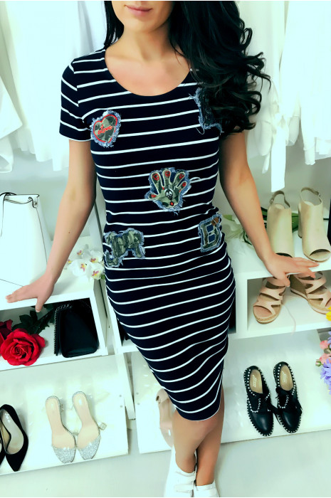 "Navy sailor dress, with fashionable ""Camouflage"" insert."