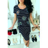 """Navy sailor dress, with fashionable """"Camouflage"""" insert."""
