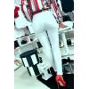 Pantalon slim blanc effilé en bas. Jeans femme fashion S2921