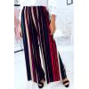 Pantalon palazzo rayé à motif , noir, rouge. 703