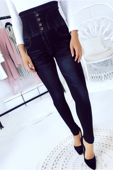 Slimming leggings imitation black jeans. High waist slimming. 15-772