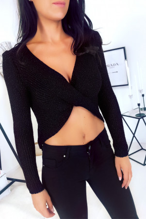 Black cropped sweater with gold glitter cross stitch on the front - 16226