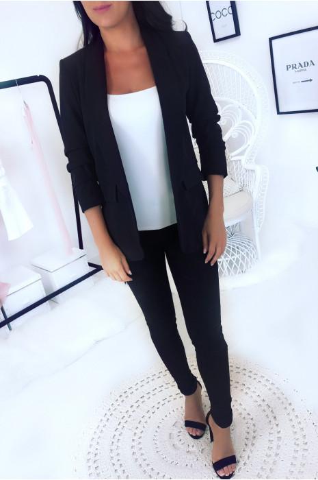 Veste blazer Noire à manches 3/4 effet bouffant. Veste femme - 16213