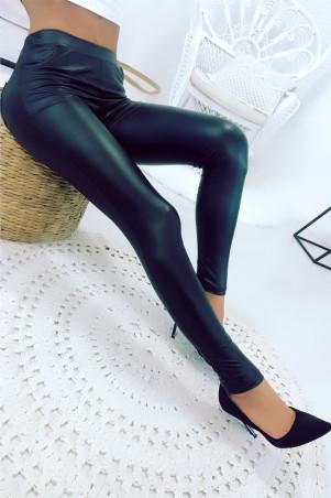 Flash Sale Black faux-oiled leggings with front and back pocket Leggings. Trend. ENLEG-9910