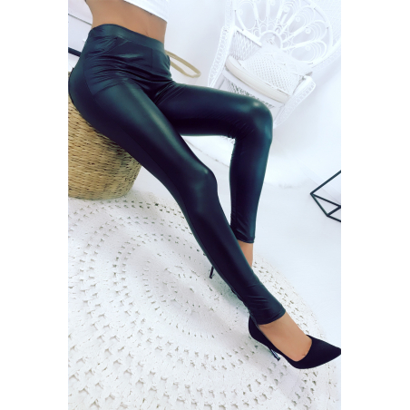 Flash Sale Black faux-oiled leggings with front and back pocket Leggings. Trend. ENLEG-9910