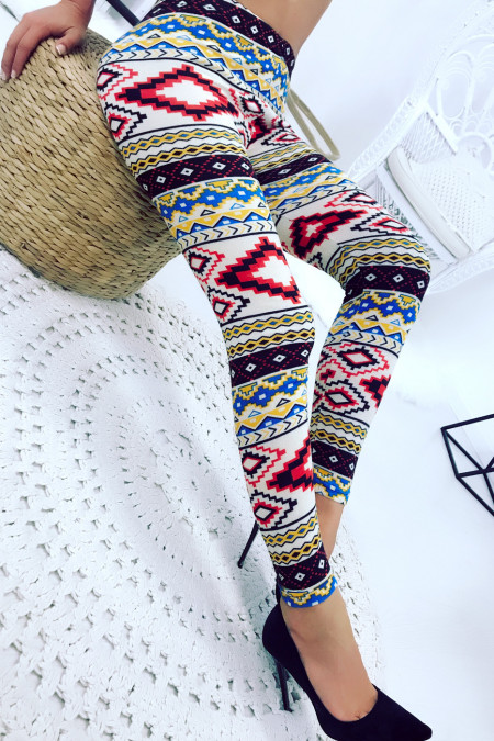 Legging in beige, rood, geel gekleurd acryl met Azteekse patronen. Goedkope legging 125-1