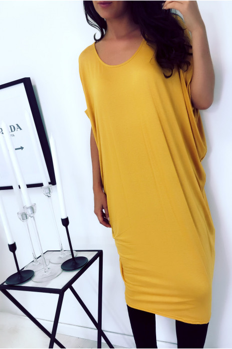 Magnificent mustard tunic dress, loose fit. Women's fashion 1754
