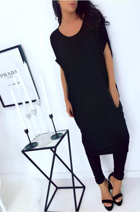 Magnifique robe tunique noir, coupe ample. Mode femme 1754