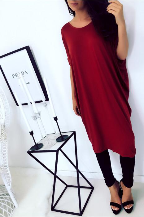 Beautiful burgundy tunic dress, loose fit. Women's fashion 1754