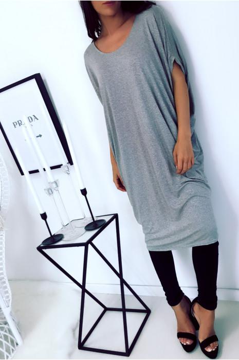 Magnifique robe tunique gris, coupe ample. Mode femme 1754