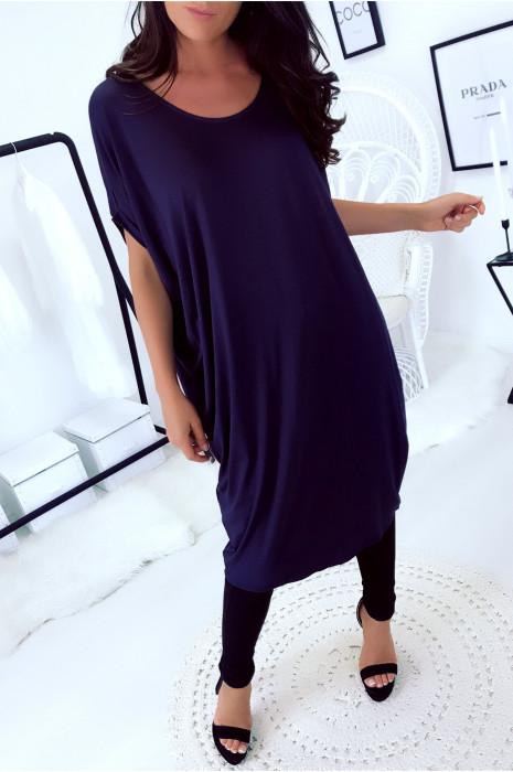 Magnifique robe tunique marine, coupe ample. Mode femme 1754