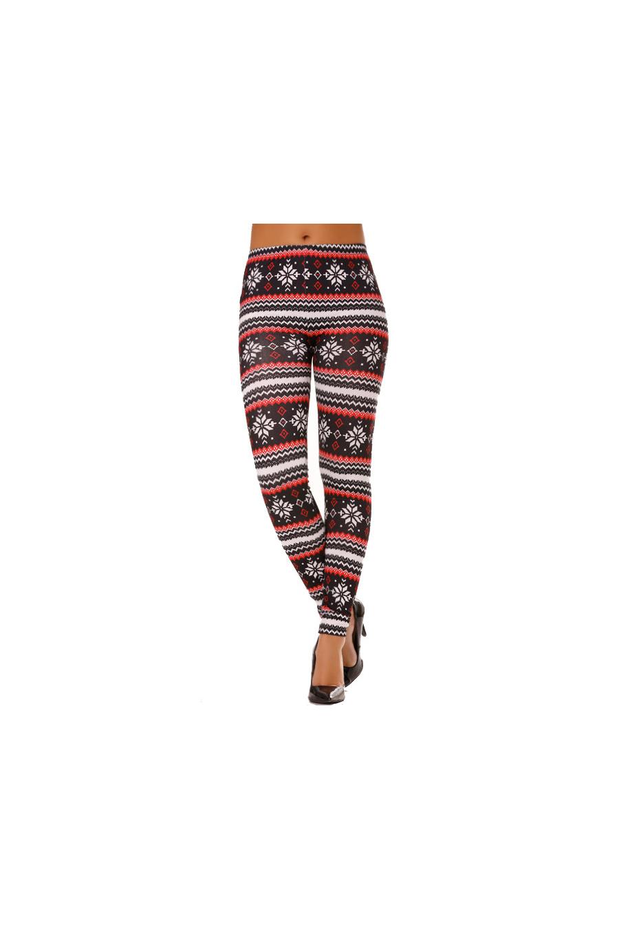 Legging à imprimés aztèque rouge et noir. G9-233
