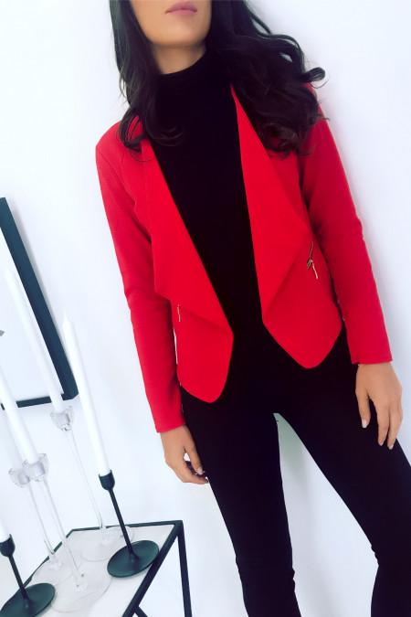 Rode blazer met gedrapeerde revers. Vrouw mode jas. 1459