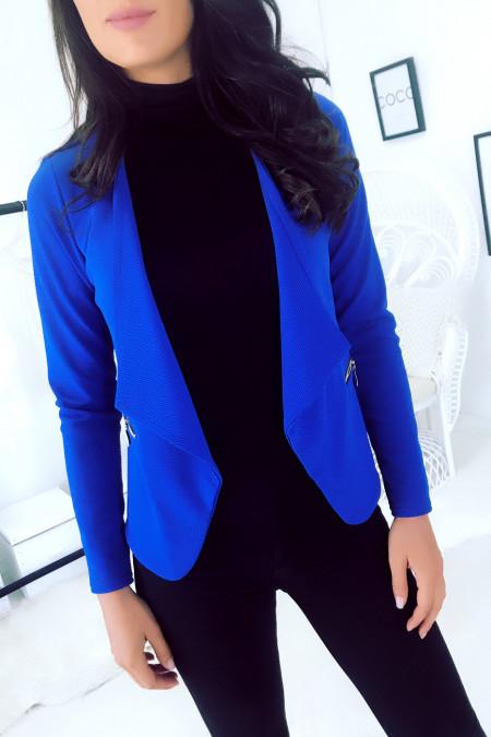 Royal Asymmetric Blazer Jacket with Zip Pocket. Woman jacket. 1459