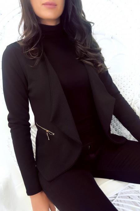 Zwart asymmetrisch blazerjack met ritszak. Dames jas. 1459