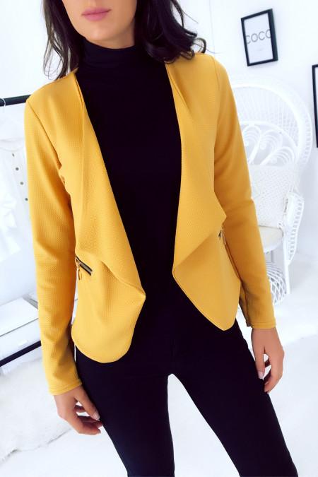 Mustard draped lapel blazer with gold zip pockets. 1459