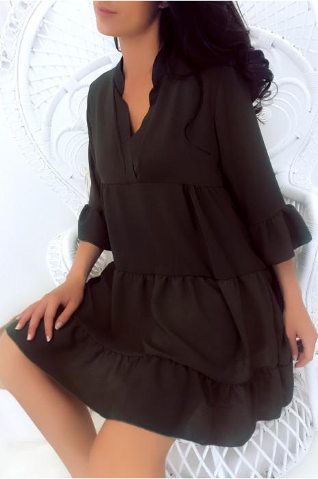 Magnifique robe tunique kaki très ample à volant. Mode femme 1840