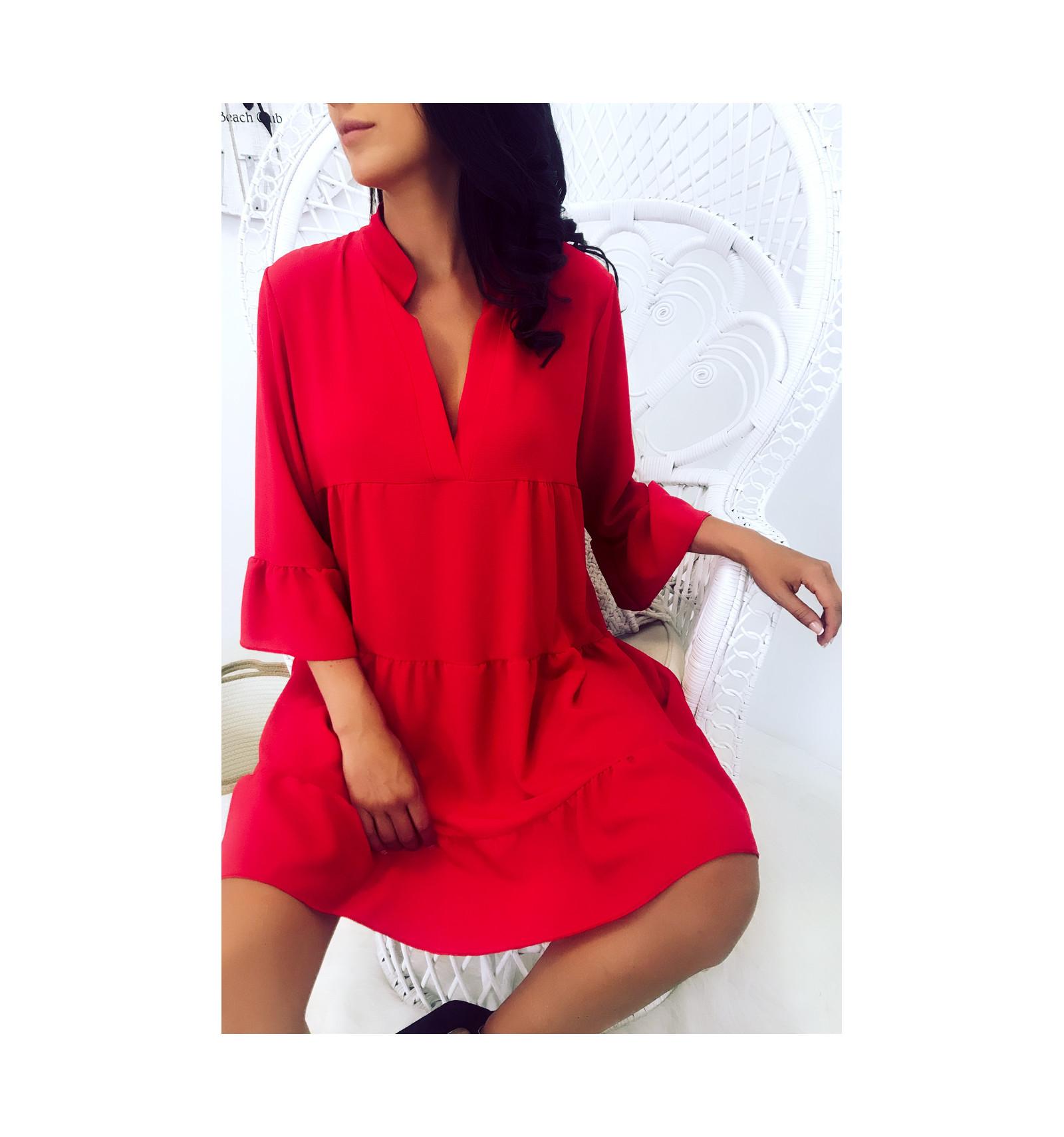 Magnifique Robe Tunique Rouge Tres Ample A Volant Mode Femme 1840