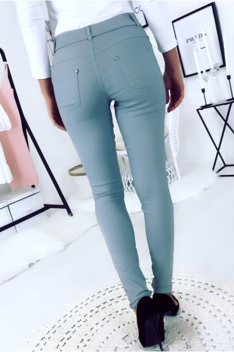 Pantalon slim gris, basic avec poche avant et arrière