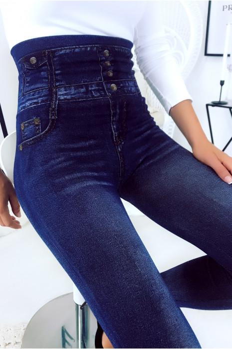 Magnifique leggings minceur bleu taille haute avec imprimé motif jeans. 29
