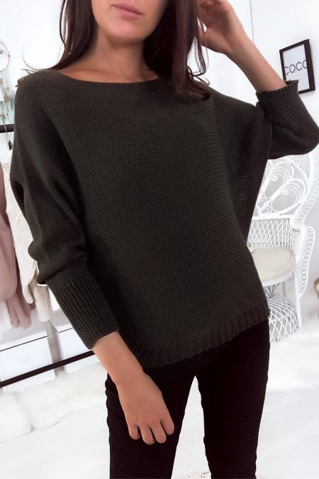 Flash Sale Kaki sweater met boothals van mesh en vleermuismouw. 16300