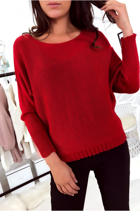 Flash Sale Red sweater with mesh boat neck and bat sleeve. 16300