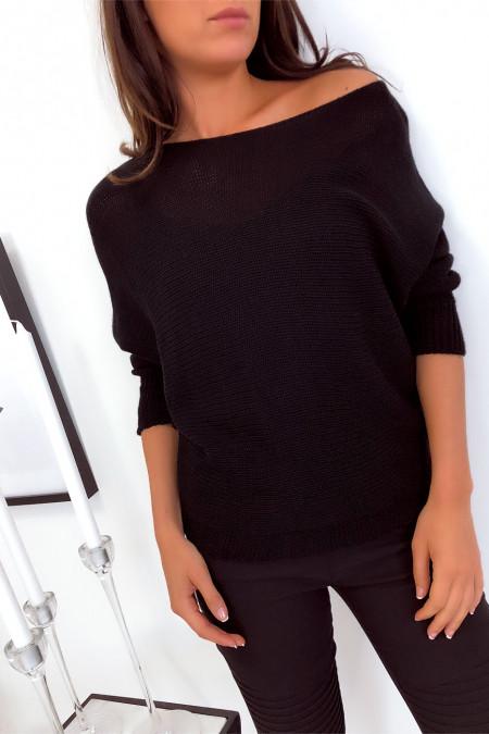 Flash Sale Zwarte sweater met boothals van mesh en vleermuismouw. 16300