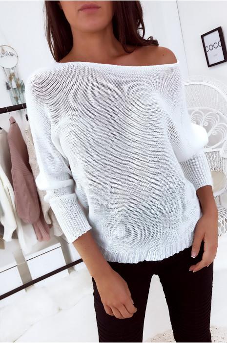 Flash Sale Ecru sweater met gebreide boothals en vleermuismouw. 16300