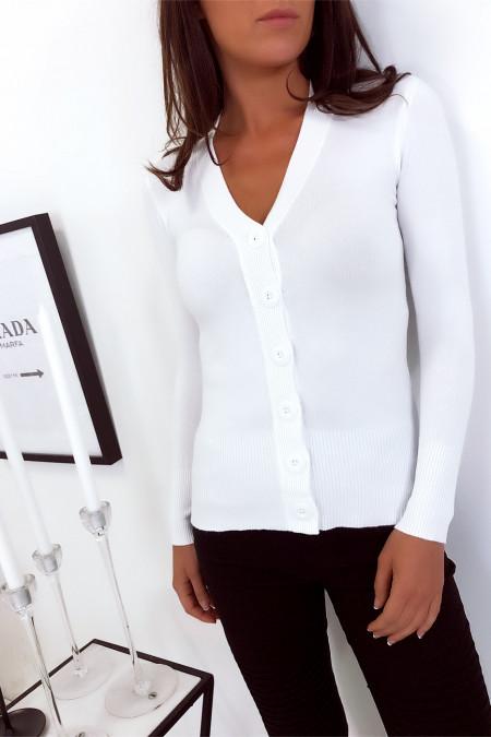 Flash Sale Wit vest met V-hals en grote knopen. 5551