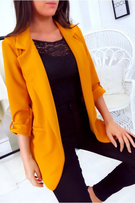 Superbe veste 3/4 léger en moutarde. Mode femme pas cher 1815