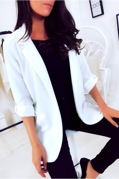 Superbe veste 3/4 léger en blanc. Mode femme pas cher 1815
