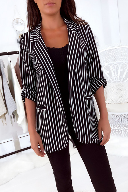 Flash Sale Black and white striped blazer, with rolled up sleeve. 1815