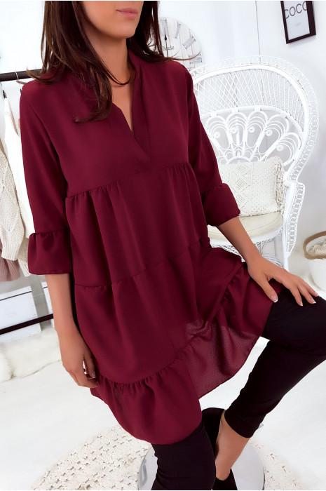 Vente Flash Magnifique robe tunique Bordeaux très ample à volant. Mode femme 1840