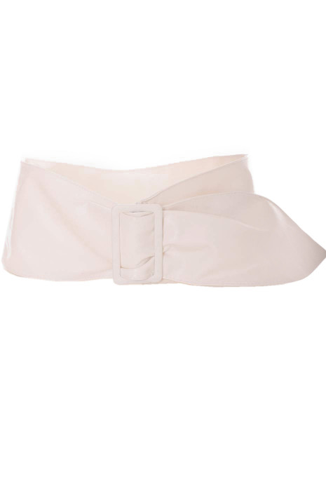 Wide white faux leather belt. Accessory CE517