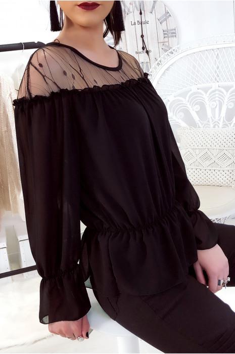 Sublime blouse noir avec dentelle au buste. Mode femme tendance.