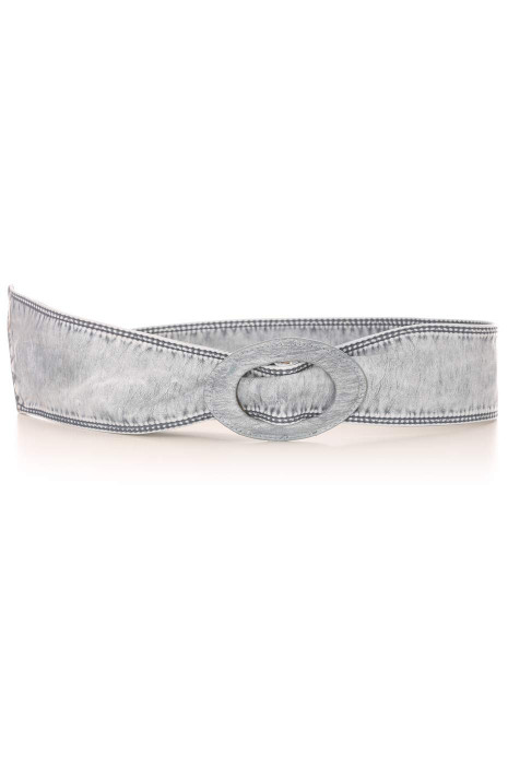 Faded blue faux leather belt with oval buckle. Accessory BG3003