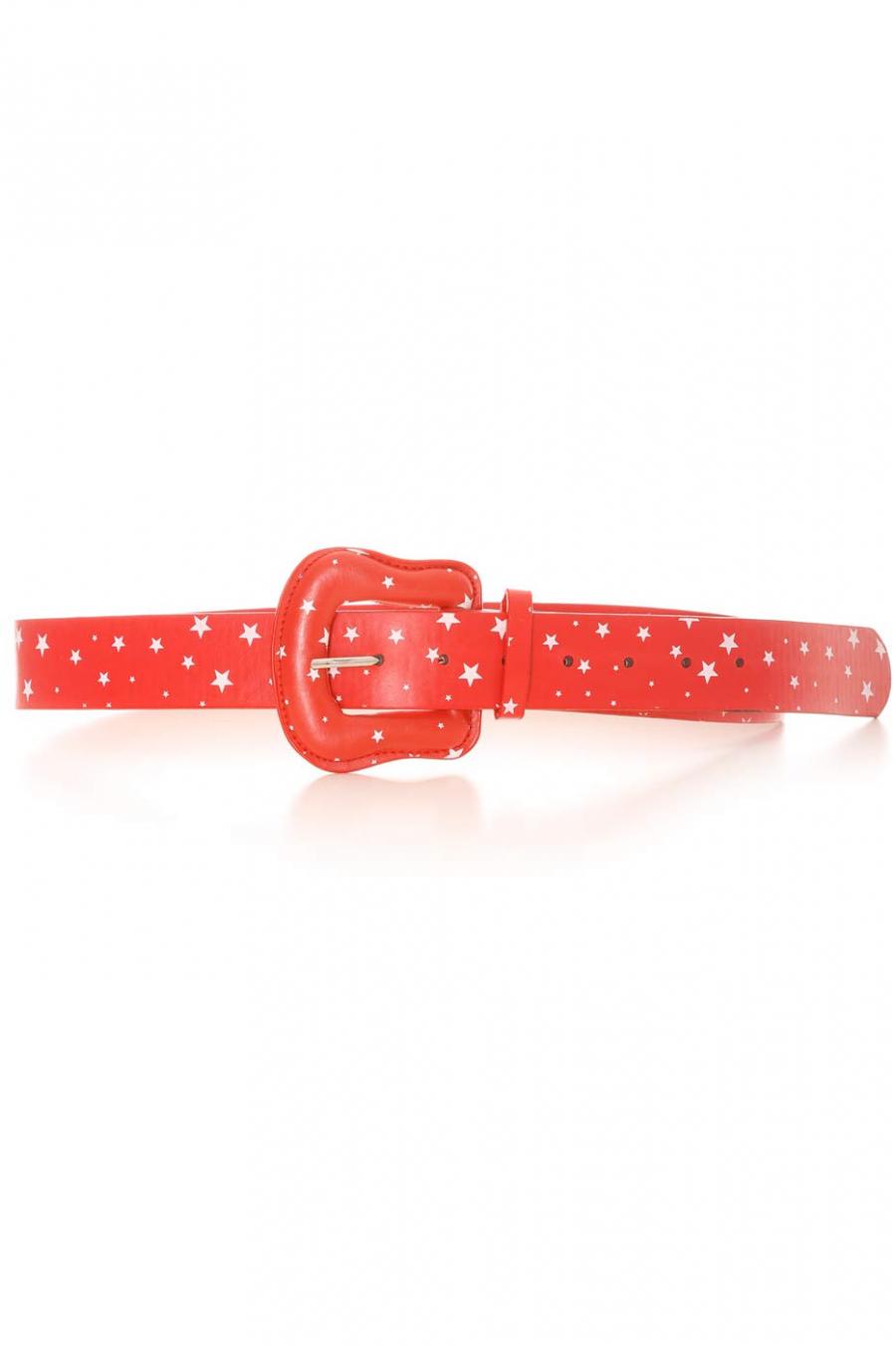 Ceinture Rouge avec en motif des étoiles blanches. Accessoire BG-P009