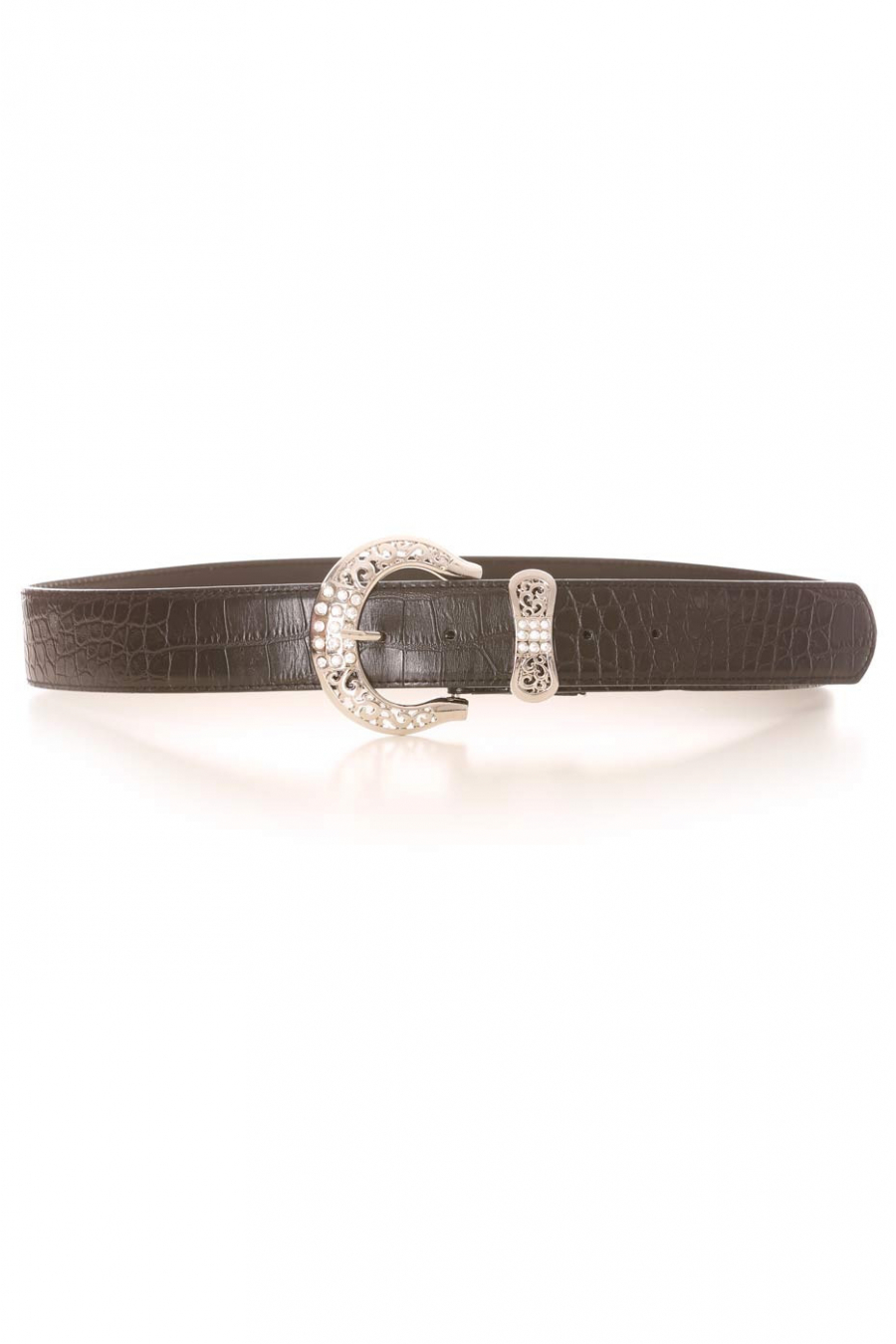 Black croc-effect belt with silver rhinestone buckle and bow-shaped loop. PVC accessory