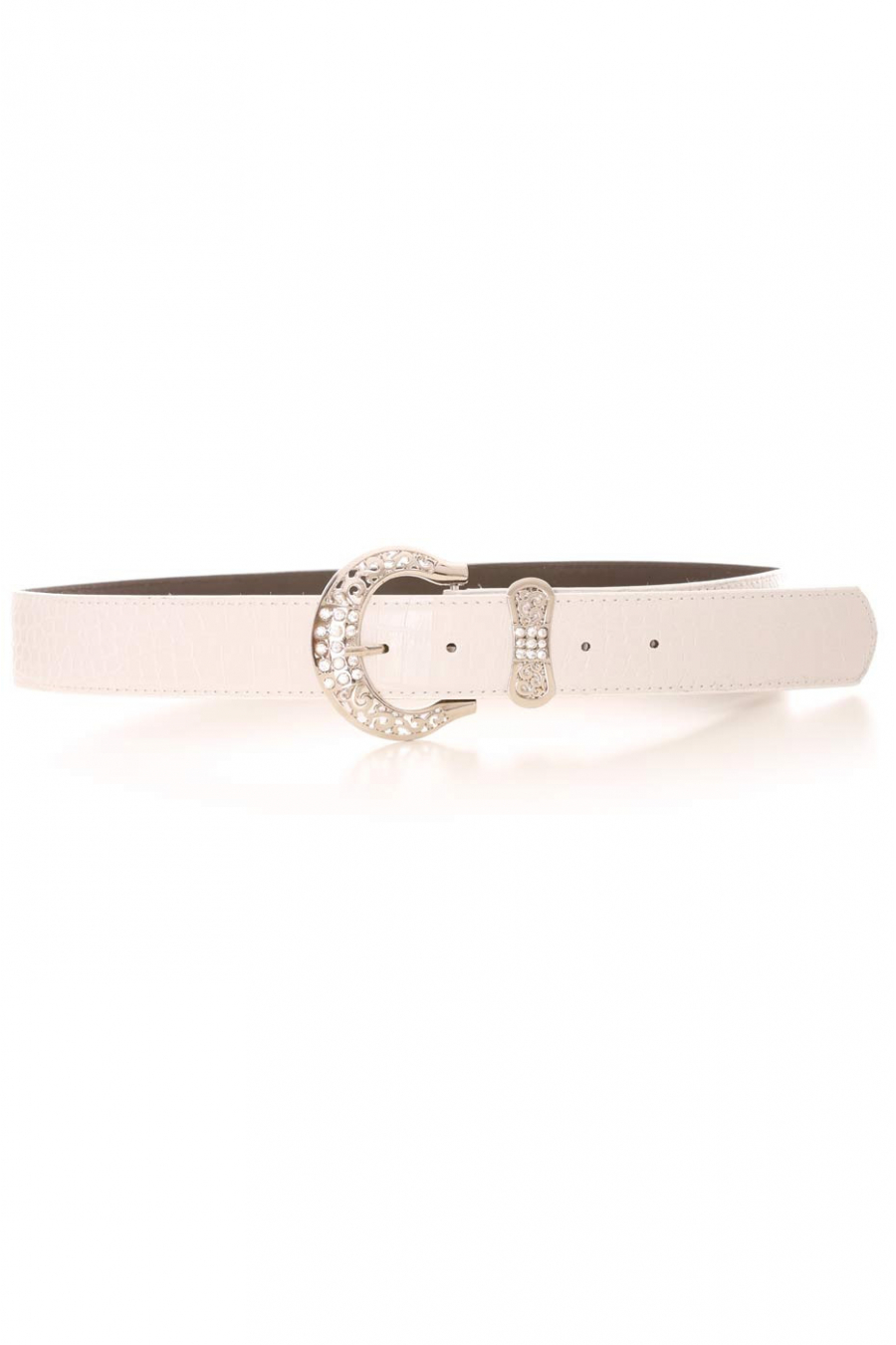 White croc-effect belt with silver rhinestone buckle and bow-shaped loop. PVC accessory