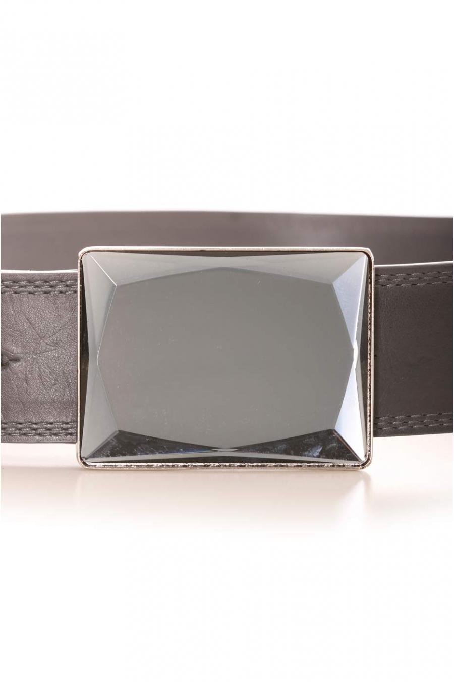 Donkergrijze riem met vierkante gesp met spiegeleffect. Toebehoren LDF0058