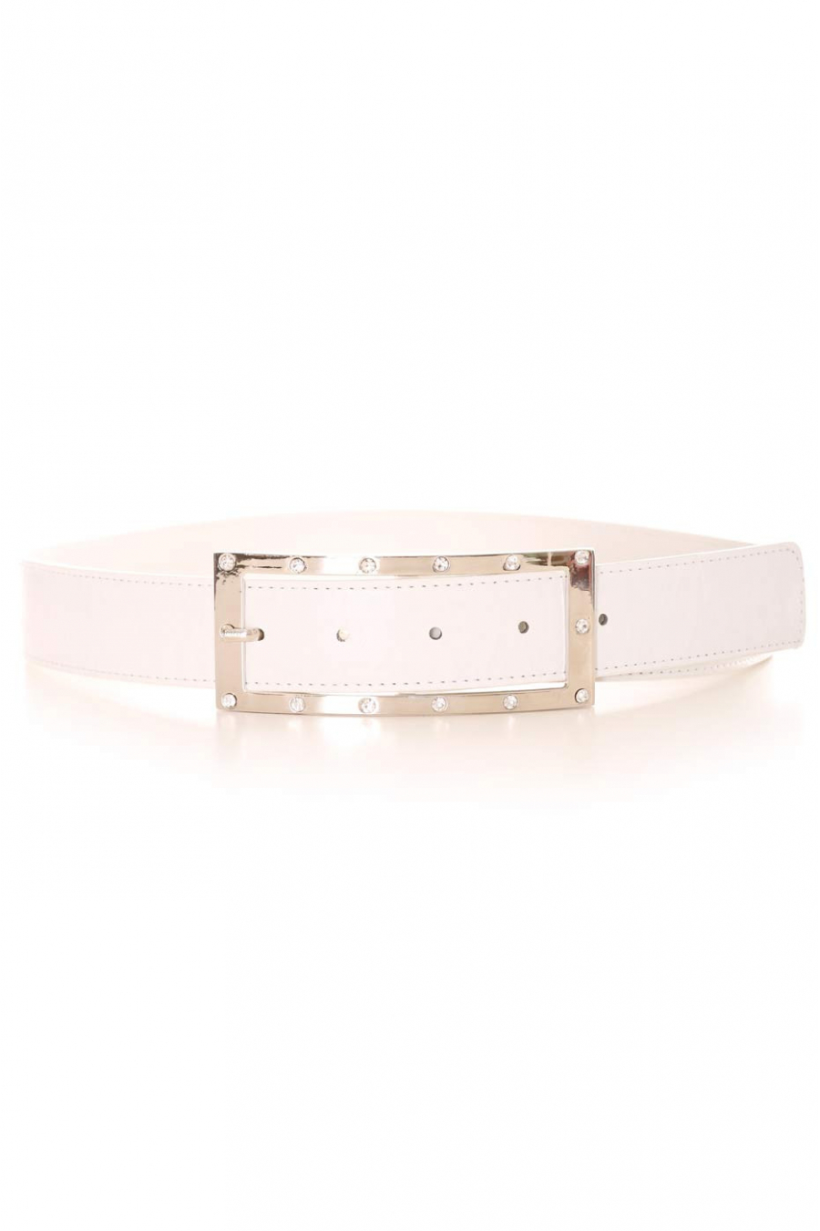 White belt with rectangular silver buckle and rhinestones. Accessory 9008